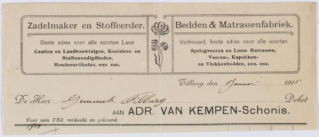 060433 - Briefhoofd. Nota van Zadelmaker en stoffeerder Adr. v. Kempen-Schonis voor gemeente Tilburg