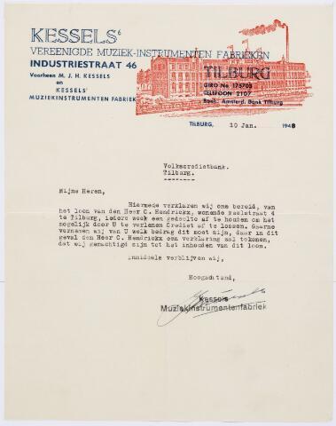 060452 - Briefhoofd. Nota van Kessels' Vereenigde Muziek-instrumenten Fabrieken, Industratiestraat 46, voorheen M.J.H. Kessels en Kessels' muziekinstrumeneten fabriek voor Volkscredietbank te Tilburg