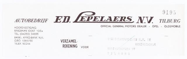 060570 - Briefhoofd. Nota van J.H. Lepelaers & Zonen, eerste Tilburgsche stoom-Timmerfabriek, Zwijsenstraat 29 voor de gemeentelijk brandweer te Tilburg. Het briefhoofd is van na 1954. In dit jaar opende burgemeester Eduard Hendrik Joan baron van Voorst tot Voorst de hoofdvestiging aan de Ringbaan Oost.