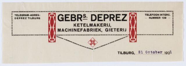 059903 - Briefhoofd. Briefhoofd van Gebrs. Deprez, Tilburgsche Stoomketel- en Machinefabriek