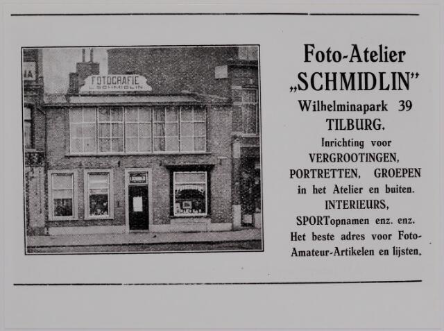 040184 - Fotozaken. Winkels. Advertentie in gids  van Foto-Atelier Schmidlin.