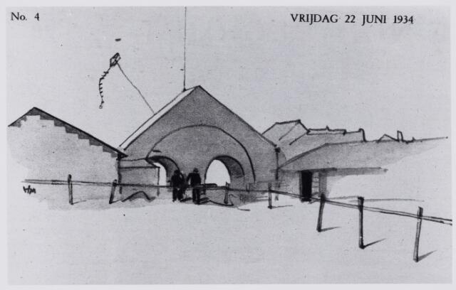 103891 - Tentoonstelling. Serie tekeningen van Herman Moerkerk (1879-1949) over de tentoonstelling Stad Tilburg 1934 gehouden van 28 juni tot 31 juli 1934.
