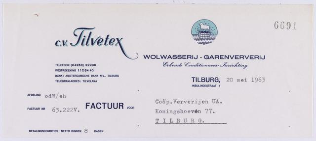 061259 - Briefhoofd. Nota van C.V. Tilvetex, Wolwasserij-Garenververij, Insulindestraat 1 voor CoÖp Ververijen U.A, Koningshoeven 77