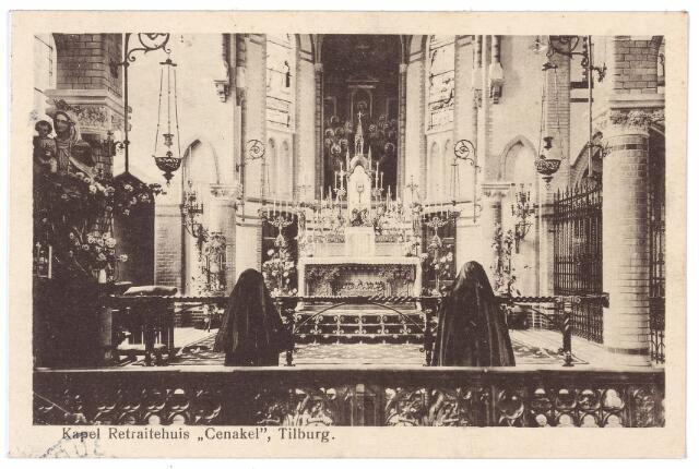 001396 - Zusters van de congregatie der Regligieuzen van O.L.V. van het Cenakel biddend in de kapel van het gelijknamige klooster en retraitehuis aan de Koningshoeven, nu Kempenbaan.