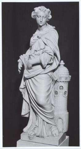 019669 - Beeld van St. Barbara in de Goirkese kerk uit het midden van de 18e eeuw