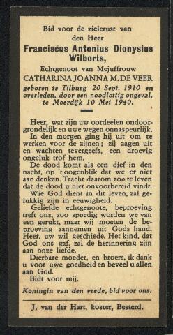 604506 - Bidprentje. Tweede Wereldoorlog. Oorlogsslachtoffers. Franciscus Antonius D. Wilborts; werd geboren op 20 september 1910 in Tilburg en overleed op 10 mei 1940 in Hooge en Lage Zwaluwe.  Franciscus Wilborts was een van de Tilburgers die buiten de stad slachtoffer werd van de luchtoorlog.