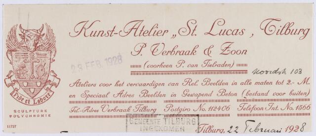 """061294 - Briefhoofd. Briefhoofd van Kunst-Atelier """"St. Lucas"""", P. Verbraak & Zoon (voorheen P. van Tielraden), Noordstraat 103"""