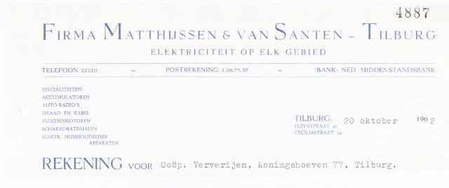 060679 - Briefhoofd. Nota van Firma Matthijssen & van Santen - Tilburg, elektriciteit op elk gebied, Elzenstraat 50 en Cecilliastraat 34, voor Coöp. Ververijen, Koningshoeven 77