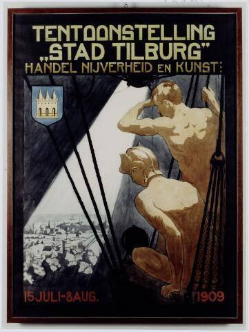 103825 - Tentoonstelling. Affiche van de tentoonstelling Stad Tilburg 1909 gehouden van 15 juli - 8 augustus 1909  Handel Nijverheid en Kunst. Het tentoonstelling-terrein was gelegen aan de 1e Herstalse Dwarsstraat (tussen Boomstraat en Industriestraat).