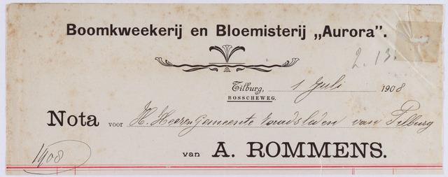 """061001 - Briefhoofd. Nota van A. Rommens, Boomkweekerij en Bloemisterij """"Aurora"""" , Bosscheweg voor de gemeente Tilburg"""