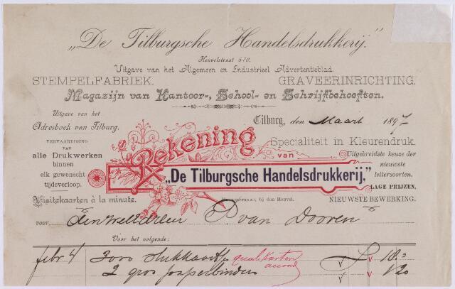 """061235 - Briefhoofd. Nota van """"De Tilburgsche Handelsdrukkerij"""", Heuvelstraat 570 voor P. van Dooren te Tilburg"""