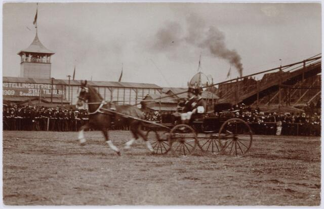 103856 - Tentoonstelling Stad Tilburg 1909 gehouden van 15 juli - 8 augustus 1909  Handel Nijverheid en Kunst. Koetsen met paarden.
