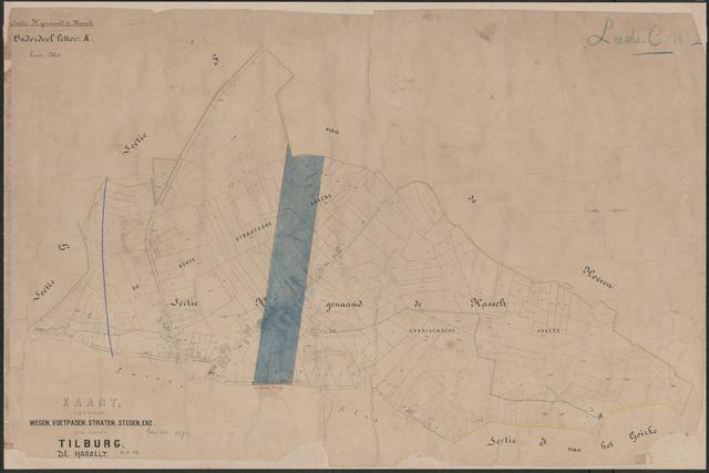 652656 - Wegenlegger. Kaart van de openbare wegen, voetpaden, straten, stegen, etc. Tilburg, Sectie H (Hasselt), blad 1. Schaal 1:2500. Ongedateerd.