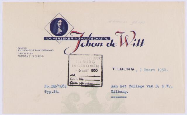 061435 - Briefhoofd. Nota van N.V. Verzekeringmaatschappij Johan de Witt voor de gemeente Tilburg