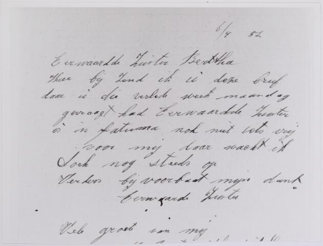 042151 - Bejaardenzorg.  Brief uit 1952 van een Tilburgse vrouw aan directrice zuster Bertha met de vraag ´of er al plaats is in Fatima´, zoals zij Sint-Jozefzorg noemt.