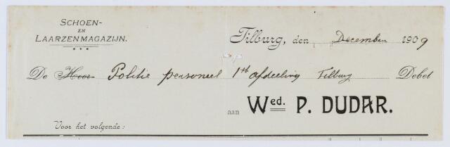 059983 - Brief.Nota van Wed P. Dudar, Schoenmagazijn Nieuwlandstraat 26, voor de politie van Tilburg