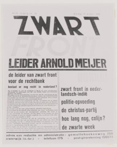 079370 - Serie foto's (079368 t/m 079390) betreffende Arnold Meyer, leider zwart front 1934 - 1941. Hij woonde in een afgelegen huis aan de Gemullehoekenweg te Oisterwijk.