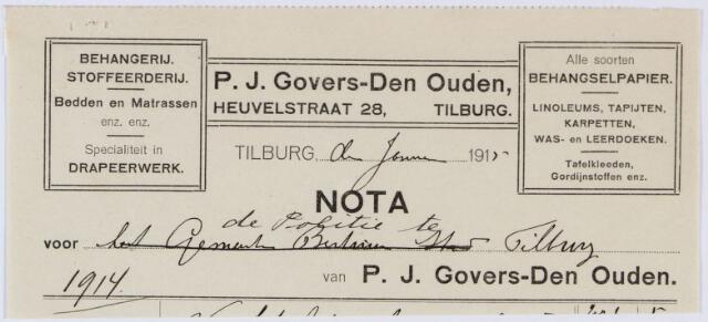 060191 - Briefhoofd. Nota van P.J. Govers-Den Ouden v/h J. Smarius-Eijsbouts, Korvelscheweg 141-143 voor het politiebureau Tilburg