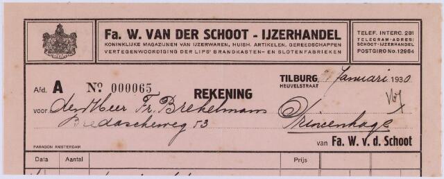 061076 - Briefhoofd. Nota van Firma W. van der Schoot, Koninklijke magazijnen van Ijzerwaren, Heuvelstraat 56 voor Fr. Brekelmans, aannemer te Princenhage