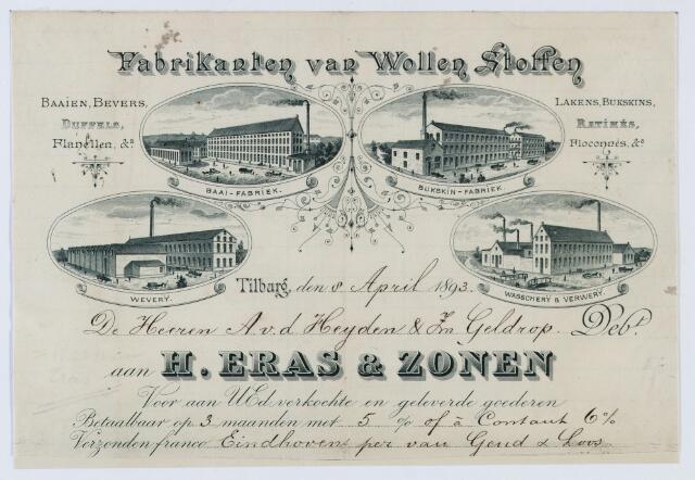 060042 - Briefhoofd. Nota van H. Eras & Zonen, Fabrikanten van Wollenstoffen voor A.v.d. Heijden & Zn Geldrop
