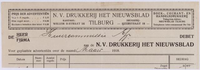 060822 - Briefhoofd. Nota van N.V. Drukkerij Het Nieuwsblad - Tilburg, Willem II-straat 56 voor de huurcommssie te Tilburg