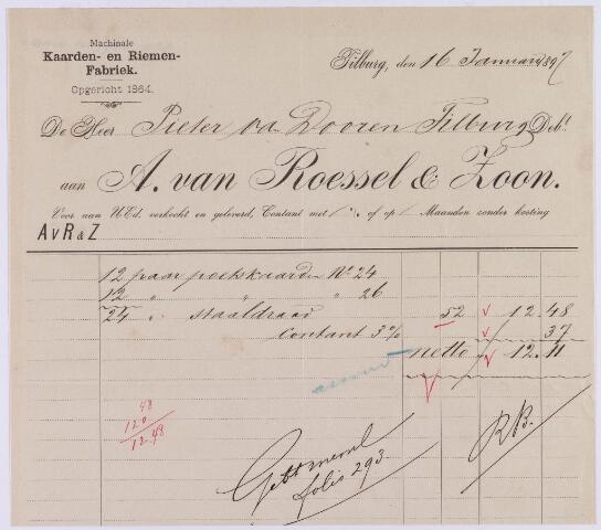060996 - Briefhoofd. Nota van A. van Roessel & Zoon, machinale kaarden en riemen fabriek, voor Pieter van Dooren te Tilburg