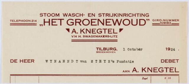 """060203 - Briefhoofd. Nota van Stoom Wasch- en strijkinrichting """"Het Groenewoud"""" A. Knegtel v/h H. Swagemakers-Litz, Broekhoven, voor Wynaendt van Steyn's Fundatie"""