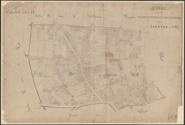 652664 - Wegenlegger. Kaart van de openbare wegen, voetpaden, straten, stegen, etc. Tilburg, Sectie M (Kerk), blad 1. Schaal 1:1000. 1883.