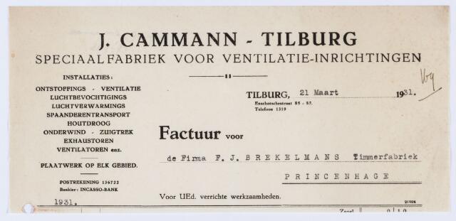 059822 - Briefhoofd. Nota van J. Cammann-Tilburg, Speciaalfabriek voor ventilatie-inrichtingen, voor F.J. Brekelmans Timmerfabriek te Princenhage