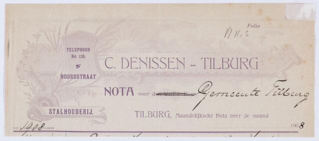 059890 - Briefhoofd. Nota van C. Denissen, Stalhoudrij, Noordstraat voor de gemeente Tilburg