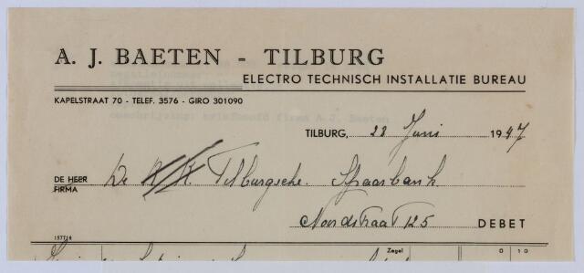 059523 - Briefhoofd. Rekening van A.J. Baeten - Tilburg, electro technisch installatie bureau, Kapelstraat 70 aan Tilburgsche Spaarbank