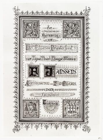 007113 - Tekening. Franciscus Janssens (1842-1907) werd in 1867 tot priester gewijd aan het Amerikaans college in Leuven. Eerder had deze Tilburger op school gezeten bij de fraters van Tilburg en de seminaries van Beekvliet en Haaren doorlopen. Het college in Leuven onderhield nauwe banden met de Verenigde Staten waar een groot priestertekort was, ook Janssens vertrok na zijn wijding naar Amerika. In 1881 werd hij benoemd tot bisschop van Natchez (Mississippi) en zeven jaar later tot aartsbisschop van New Orleans. Het ambt van aartsbisschop heeft hij tot 1897 uitgeoefend. Janssens werd in New Orleans begraven, maar in de kerk van den Heuvel de parochiekerk van zijn familie herrinnert een gedenkplaat aan zijn nagedachtenis.