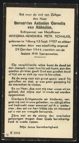 604350 - Tweede Wereldoorlog. Oorlogsslachtoffers. Bidprentje ter nagedachtenis aan Bernardus A.C. van Abbeelen,om het leven gekomen bij een luchtaanval op de weg naar Loon op Zand.
