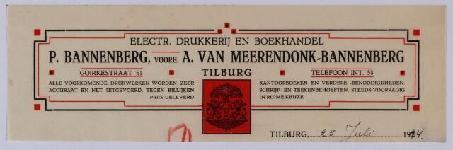 059532 - Briefhoofd. Briefhoofd van Eletr. drukkerij en boekhandel P. Bannenberg, voorh. A. van Meerendonk-Bannenberg, Goirkestraat 61