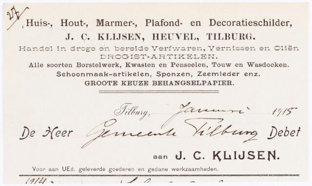 060485 - Briefhoofd. Nota van J.C. Klijsen, huis-, hout-, marmer-, plafond- en decoratieschilder, voor de  gemeente Tilburg