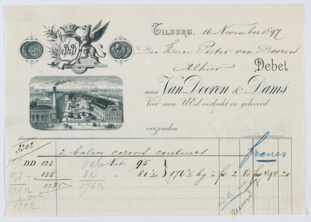 059968 - Briefhoofd. Nota van Pieter van Dooren, Spinnerij van Wollen garens voor tapijten voor van Dooren en Dams