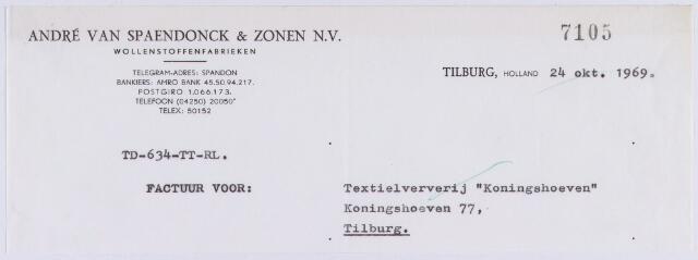 """061151 - Briefhoofd. Nota van André van Spaendonck & Zonen N.V., Wollenstoffenfabrieken, Koestraat 168 voor Textielververij """"Koningshoeven"""", Koningshoeven 77"""