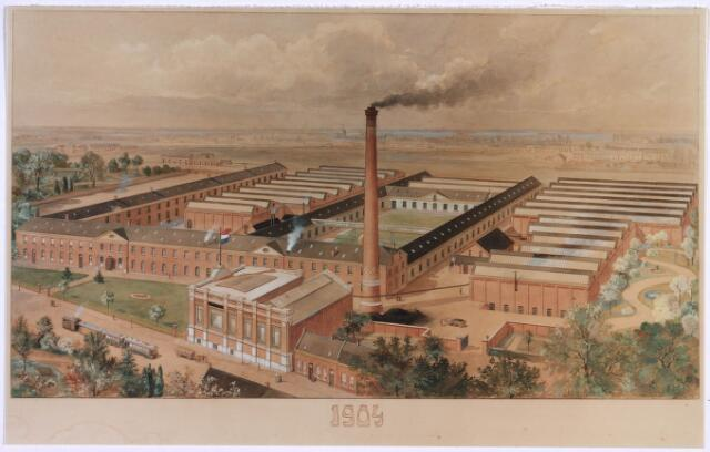023309 - Tekening. Textiel. Complex van de voormalige textielfabriek Van den Bergh - Krabbendam (Beka) in 1904, gevestigd in de voormalige Lancierskazerne. De gebouwen met de sheddaken zijn later bijgebouwd. Het merendeel van de gebouwen is later gesloopt.