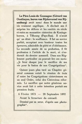 602186 - Bidprentje. Tekstzijde van het bidprentje van pater Louis de Gonzague (baron van Rijckevorsel) (1873-1892)