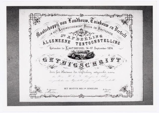 039550 - M.C.N. Bressers Kaarsenfabriek. Provinciale Tentoonstelling van Landbouw, Tuinbouw en Veeteelt geeft diploma met zilveren medaille voor best vervaardigde producten van bijenteelt gehouden te Kaatsheuvel van 14-17 september 1874 aan gebrs. Bressers te Tilburg (1874).