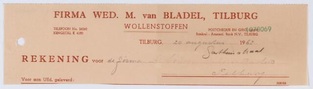 059634 - Briefhoofd. Nota van Firma Wed. M. van Bladel, Tilburg, Wollenstoffen, Gasthuisstraat