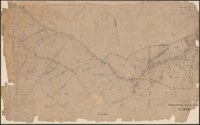 652645 - Wegenlegger. Kaart van de openbare wegen, voetpaden, straten, stegen, etc. Tilburg, Sectie D (Korvel), blad 1 en 2. Schaal 1:2500. Ongedateerd.