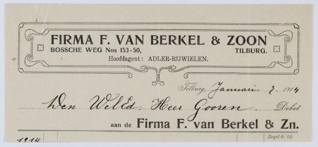 059609 - Briefhoofd. Nota van Firma F van Berkel & Zn. Hoofdagent Adler Rijwielen, Bosscheweg nos. 153-50 voor de heer Gooren