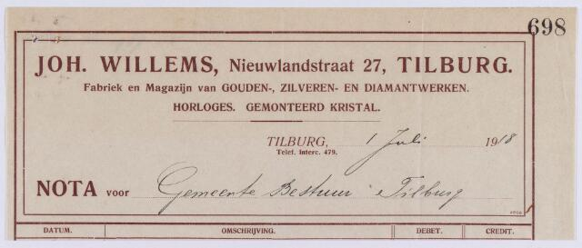 061434 - Briefhoofd. Nota van Joh. Willems, Fabriek en magazijn van Gouden-, zilveren- en diamantenwerken, Nieuwlandstraat 27 voor de gemeente Tilburg