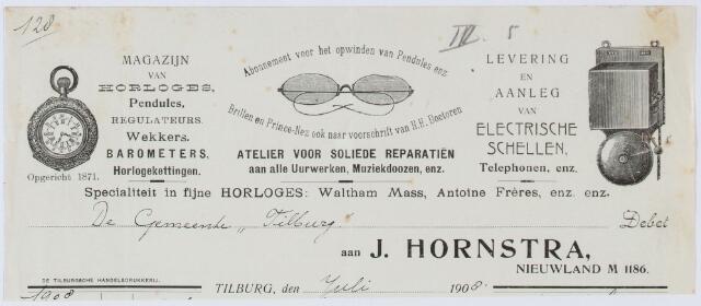 060322 - Briefhoofd. Nota van J. Hornstra, magazijn van horloges enz., Nieuwland M. 1186 voor de gemeente Tilburg