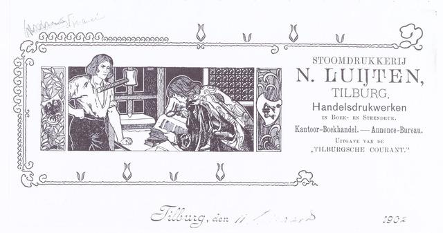 060611 - Briefhoofd. Briefhoofd  van Stoomdrukkerij  N Luijten, Willem-II-straat 25-27, uitgave van de Tilburgsche courant