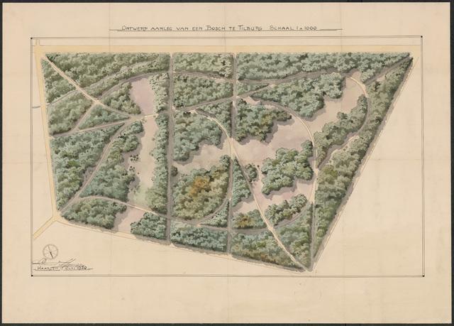 652548 - Ontwerp aanleg van een bos (Wandelbos), ingekleurd. Tekening van Leonard Springer. Gesigneerd en gedateerd: 17 juni 1920.
