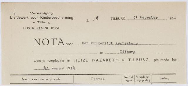 060337 - Briefhoofd. Nota van Huize Nazareth te Tilburg voor Armbestuur van Tilburg