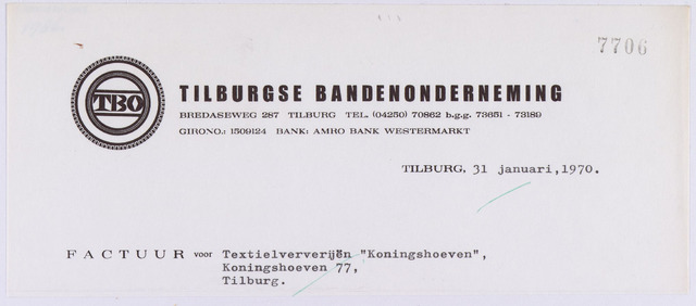 "061255 - Briefhoofd. Nota van Tilburgse Bandenonderneming, Bredaseweg 287 voor Textielververijen ""Koningshoeven"", Koningshoeven 77"