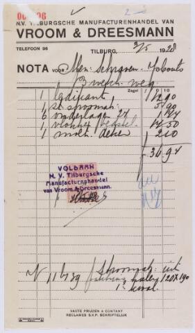 061383 - Briefhoofd. Nota van Vroom & Dreesmann Tilburg voor mevr. Schraven-Ijsbouts, Broekhovenseweg
